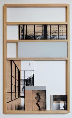Fachada/Dispositivo 01 - 100x60cm - 2014 - Monotipia/Madeira, plywood, vidro e serigrafia - Ed. Única